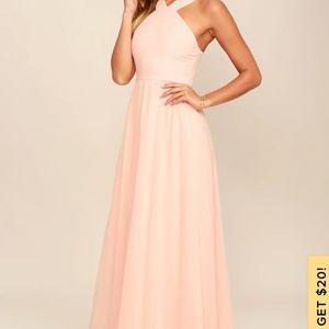 Lulus beige air of romance maxi dress